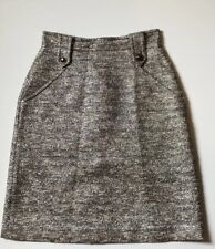 Whistles Silver Boucle Pencil Skirt, Size 8 jacquard
