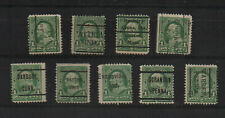 US #279, nine early local precancels on Benjamin Franklin stamps.