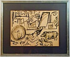 Listed Artist David Burliuk (1882-1967) Signed & Dated Ink Painting On Paper