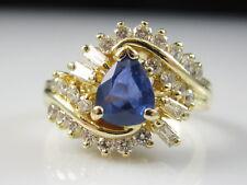 18K Sapphire Diamond Ring Yellow Gold Fine Jewelry Blue Pear Baguette Size 4.5