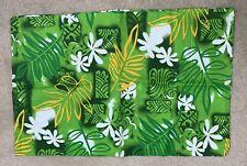"""Single Pillow Case Green Floral Hawaiian Samoan Island Print 21""""W X 32""""L"""