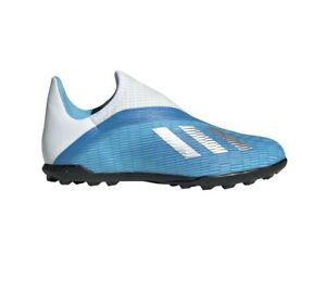 Adidas Boys Football Shoes Youth Soccer X 19.3 Turf Boots Laceless EF9123 New