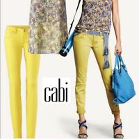 CAbi Woman's Citron Curvy Skinny Ankle Yellow Stretch Jeans Size 00