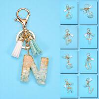 Women Acrylic A-Z Alphabet Keychain Bag Pendant Charm Tassel Key Ring