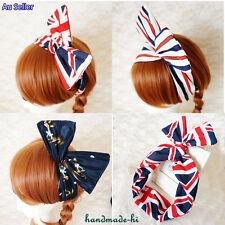 Wide Bunny Ear Wire Hair Headband Scarf British Australian Flag Stripe Dress up