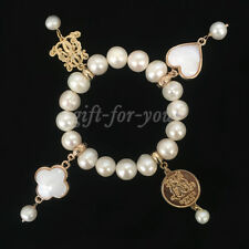 BOWERHAUS Lucky Charm Freshwater Pearl 18K Gold Plated Bracelet