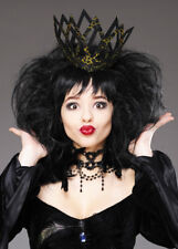 Deluxe Ladies Black Gothic Queen Wig and Crown