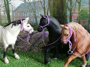 3x Barock Knotenhalfter Halfter Set f. Schleich Pferde Schleichpferde Horse Club