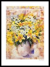 Mae Book Yellow Lilies Poster Bild Kunstdruck mit Alu Rahmen in schwarz 80x60cm