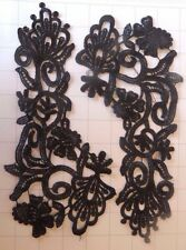 "Set of Mirrored Black Embroidered Applique Sew on 10"" by 4.5"""