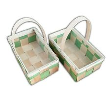 Wooden Basket, Set of 2, Woven Pine B16 With Handle Hand-Made