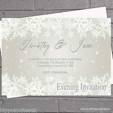 12 x Snowflake Any Colour Wedding Day Evening Reception Invites H0040