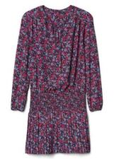 GAP Women Dress M Tall Red Floral Long Sleeve Neck Tie Pleated Smocked Mini New