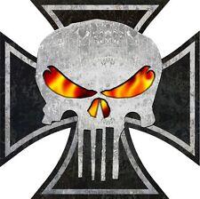 "766 ProSticker 5"" Rat Rod Iron Cross Skull Decal Sticker Flames Parts Distressed"