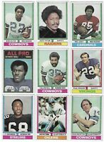 1974 Topps Football Lot Of 9 LC Greenwood Jack Tatum Alan Page Paul Krause HOF!