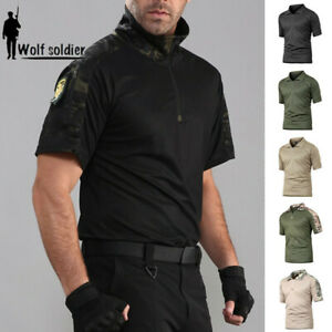 Mens Tactical Combat T-Shirt Short Sleeve Military Army Outdoor Casual T Shirts