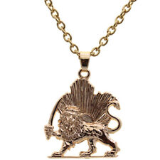 Gold Plated Persian Iranian Lion Sun Shir Khorshid Pahlavi Necklace Chain Iran