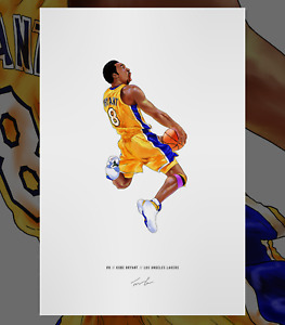 Kobe Bryant #8 Los Angeles Lakers Basketball Illustrated Print Poster Art