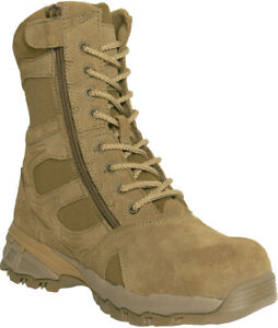 Coyote Brown AR 670-1 Combat Tactical Deployment Side Zipper Boots Composite Toe
