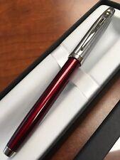 "Sheaffer 100 Fountain Pen ""F"" Nib Chrome/ Red"