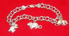 RCI Solid 14K White Gold Double Rolo Link Chain Charm Bracelet Not Scrap 12.5g