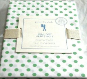 "Pottery Barn Dorm Mini Dot Standard Pillowcase  Green + White 30 x 20"" NEW"
