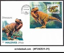 MALDIVES - 2019 DINOSAURS / PREHISTORIC ANIMALS M/S FDC