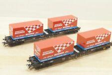 """HO Trix DC 24357 SET Container-Tragwagen """"SCHACH Spedition"""" 2 X Sgs Wagen OVP"""