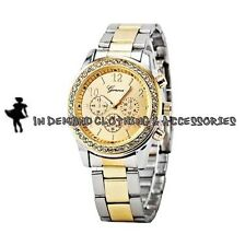 J6 Popular Luxury Dress Style SilverGold 2 Tone Analog Faux Chrono Fashion Watch