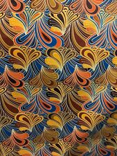GOLD BLUE MULTICOLOR African Wax Print 100% Cotton Fabric (44 in.) Sold BTY