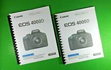 """Laser Canon Eos 4000D Rebel T100 Camera 322 Page 8.5 x 11"""" Owners Manual Guide"""