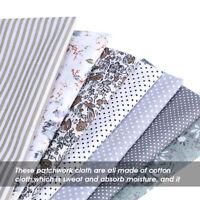 7PCS Grey Cotton Fabric Squares Bundle Patchwork Pre-Cut Quilt For Sewing Diy