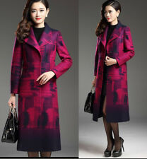 Women Winter Warm slim wool blend Long Coat jacket outwear winter coat plus size