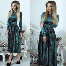 Women Winter Maxi Gown Dress Casual Long Sleeve Velvet Evening Party Dinner Prom