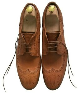 Paul Smith Herren Schuhe Hellbraun Tunk Gefärbt Leder Brogue Größe 9/43 Made IN