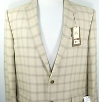 Haggar Mens Sport Coat NEW Size 48 Long Two Button Classic Fit Beige Tan Plaid