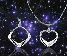 2 Pendants Solid Sterling Silver Pendants rhombus Heart gift Couple anniversary