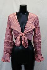 Nasty Gal Women's Satin The Bar Jacquard Tie Top SV3 Pink US:8 UK:12 NWT