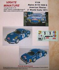 V128 ALPINE A110 1600S 2°RALLY INSTALLA CARLO 1971 JEAN-LUC THÉRIER DECALCOMANIE