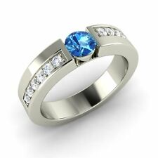 CERTIFIED 0.46Ct Natural Blue Topaz & Diamond 14k White Gold Engagement Ring