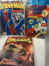 3pc Book Set The Amazing Spiderman Jumbo and Surprise Ink Books Plus Dinosaurs