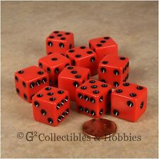 NEW 10 Red w/ Black D6 6 Sided RPG Bunco Game Dice Set 16mm 5/8 inch
