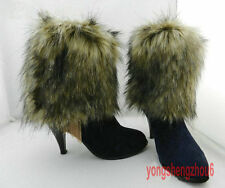 Boot Cuff Fluffy Soft Furry Faux Fur Leg Warmers Toppers Imitation Wolf hair