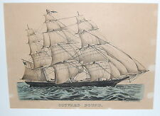 Currier &  Ives Hand Colored Lithograph Outward Bound Clipper Ship Small Folio