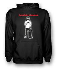 My God Rides A Skateboard - Skater Jesus - Mens Hoodie
