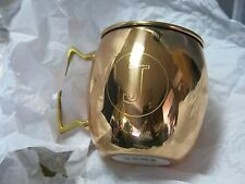 Jodhpuri 20 oz Moscow Mule Mug Initial Letter J Copper Brass Handle Monogram Cup