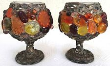 NWT 2 Anna Graff Royal Lights Handmade Original Candle Votive Goblets Unique