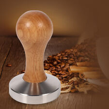 58mm Wooden Stainless Steel Coffee Tamper Machine Espresso Press Tool Flat Base