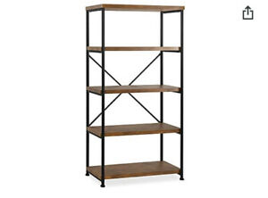 5-Tier Solid wood bookcase industrial Rustic Vintage Open Storage Bookshelf With