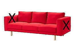 IKEA Norsborg 3 Seat Sofa Cover in Finnsta Red [ no armrest covers] 403.041.08